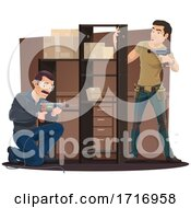 Poster, Art Print Of Workers Building A Shelf