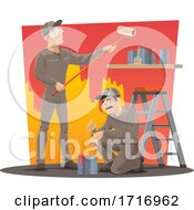 Poster, Art Print Of Workers Painting A Wall