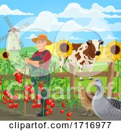 Poster, Art Print Of Farmer In A Garden