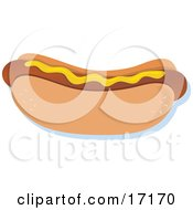 Hot Dog On A Bun Topped With Mustard Clipart Illustration by Maria Bell