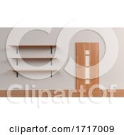 Set Of Shelves Isolated On Wall Background
