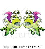 06/19/2020 - Cartoon Three Eyed Dragons In A Face To Face Confrontation