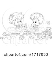 Poster, Art Print Of Boy And Girl With Toys Black And White