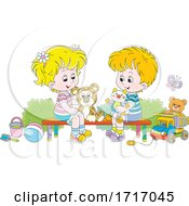 Poster, Art Print Of Boy And Girl With Toys