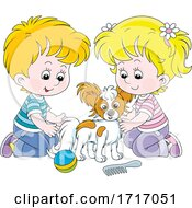 Poster, Art Print Of Boy And Girl With A Dog