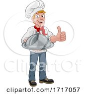 06/20/2020 - Chef Cook Man Cartoon Holding A Dome Tray
