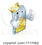 Sim Card Mobile Phone King Thumbs Up Mascot