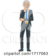 Poster, Art Print Of Mature Business Man Thinking Mascot Concept