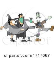 Poster, Art Print Of Covid Halloween Witch Dracula Vampire Ghost And Frankenstine Wearing Masks And Dancing The Can Can