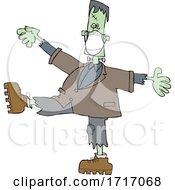 Halloween Frankenstein Wearing A Mask And Dancing