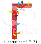 Red Border With Colorful Christmas Lights Clipart Illustration