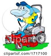 Poster, Art Print Of Cartoon Blue Shark Mowing Grass