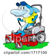 Cartoon Blue Shark Mowing Grass by LaffToon