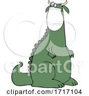 Cartoon Crazy Dinosaur Wearing A Covid Mask