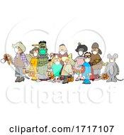 Cartoon Covid Halloween Kids Wearing Masks