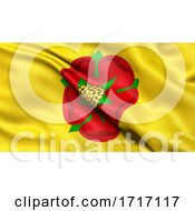 Flag Of Lancashire Waving In The Wind