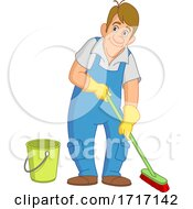 06/21/2020 - Cartoon Janitor Cleaning