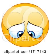 Poster, Art Print Of Cartoon Yellow Smiley Emoji With A Gloomy Expression