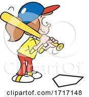 Cartoon Girl Batting And Playing Baseball