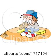 Cartoon Little Boy Pouting After Losing In A Baseball Game