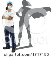 Poster, Art Print Of Superhero Nurse Doctor Woman Super Hero Shadow
