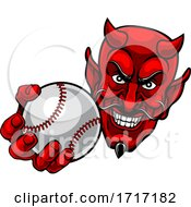 06/22/2020 - Devil Satan Baseball Ball Sports Mascot Cartoon