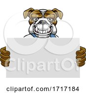 06/22/2020 - Bulldog Cartoon Mascot Handyman Holding Sign
