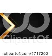 Abstract Banner Design With Gold Metallic Texture On Hexagonal Pattern Background
