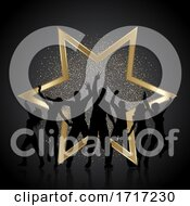 Poster, Art Print Of Party People Background With Gold Glitter And Star