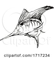 Atlantic Sailfish Jumping Up Woodcut Retro Black And White