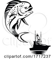 Pompano Dolphinfish Jumping Up With Fishing Boat In Background Retro Black And White