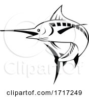 Atlantic Blue Marlin Swimming Upward Retro Black And White