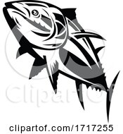 Poster, Art Print Of Atlantic Bluefin Tuna Swimming Up Retro Black And White