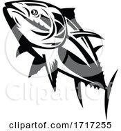 Atlantic Bluefin Tuna Swimming Up Retro Black And White