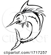 Atlantic Sailfish Jumping Cartoon Black And White