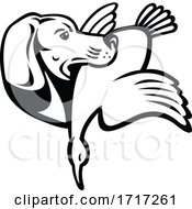 Golden Retriever Dog With Duck Bird Side View Retro Black And White