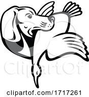 Golden Retriever Dog With Duck Bird Side View Retro Black And White