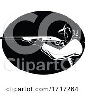 Duck Hunter Aiming Shotgun Shooting Side View Oval Retro Woodcut Black And White
