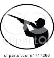 Bird Hunter Shooting Side Oval Retro Black And White