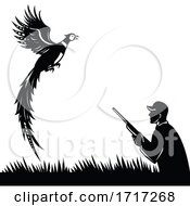 Silhouette Of Bird Hunter With Rifle Hunting Pheasant Flying Up Retro Black And White