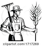 Poster, Art Print Of Wheat Farmer Holding A Rake And Cereal Grain Stalk Retro Woodcut