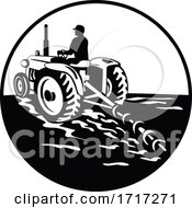 Poster, Art Print Of Farmer Driving A Vintage Tractor Viewed From Rear Circle Retro Black And White
