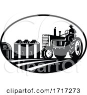 Farmer Driving Vintage Tractor With Barn And Silo Oval Retro Woodcut Black And White
