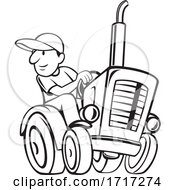 Farmer Riding And Driving A Vintage Farm Tractor Cartoon Black And White