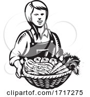 Poster, Art Print Of Female Organic Farmer With Basket Of Vegetable Farm Produce Harvest Retro Woodcut