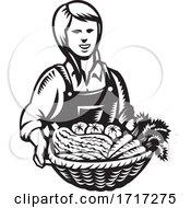 Female Organic Farmer With Basket Of Vegetable Farm Produce Harvest Retro Woodcut