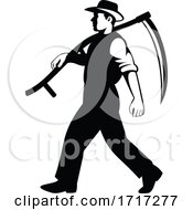 Organic Farmer Walking With Scythe Viewed From Side Retro Black And White