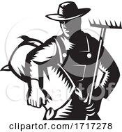 Poster, Art Print Of Organic Wheat Farmer With Rake And Sack Woodcut Retro