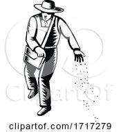 Poster, Art Print Of Organic Farmer Sowing Seeds Viewed From Front Retro Black And White