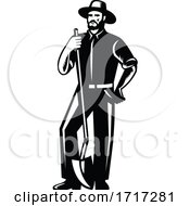 Poster, Art Print Of Organic Farmer With Spade Viewed From Front Retro Woodcut Black And White
